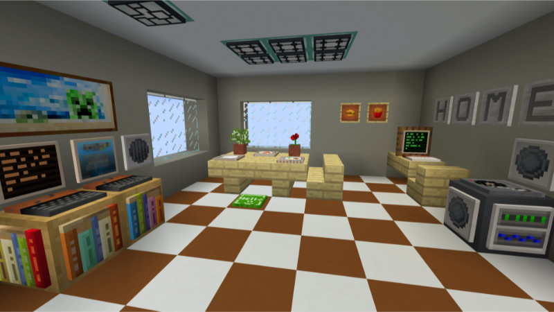 Custom poison potato items in a small room showing a small eating area, computer workstation and a stereo.