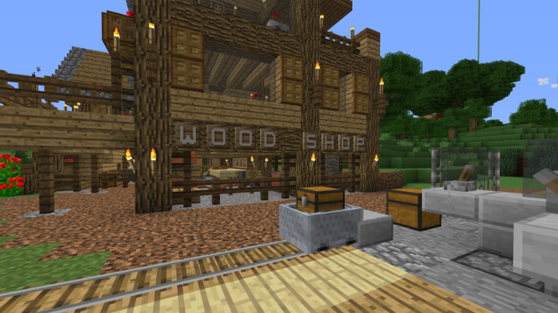 A rustic wook shop scene with custom sinage letters spelling out 'wood shop' on the front.